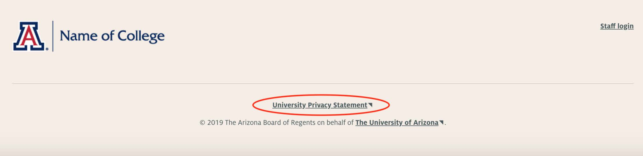 UA Privacy Policy Website Footer