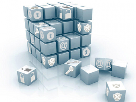 Building blocks with computer security related icons on the blocks