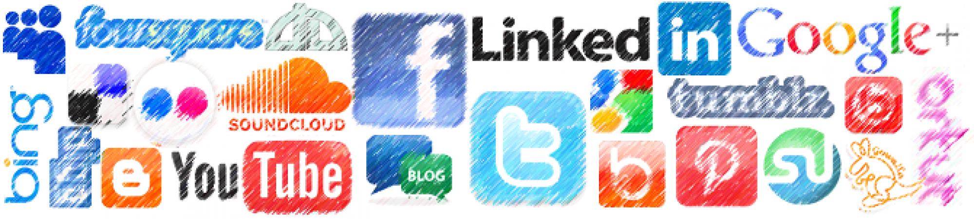 All of the major social networking providers symbols