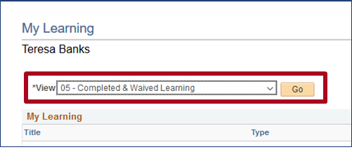 select completed and waived learning