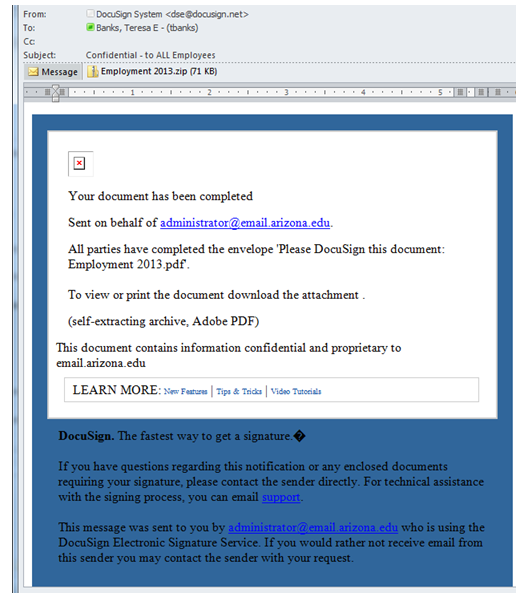 Phishing email example with attachment